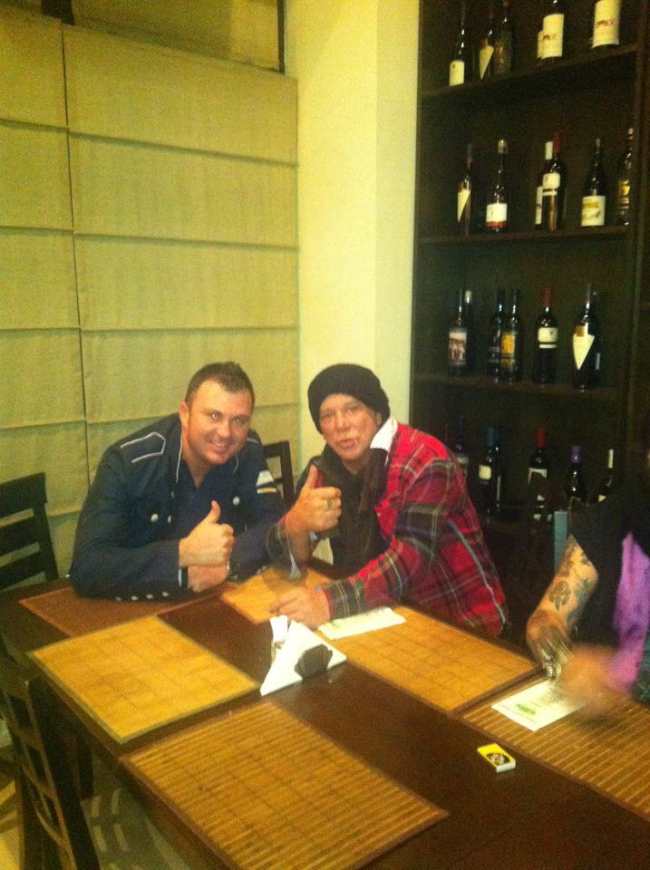 With Mickey Rourke, a guest at Trattoria Verdi